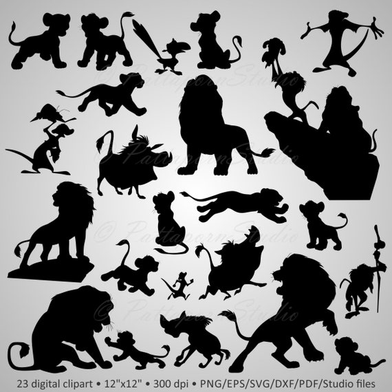 Buy 2 Get 1 Free Digital Clipart Silhouettes Lion Etsy