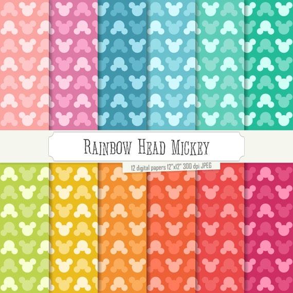 Comprar 2 obtener 1 gratis! Digital papel arco iris cabeza Mickey ...