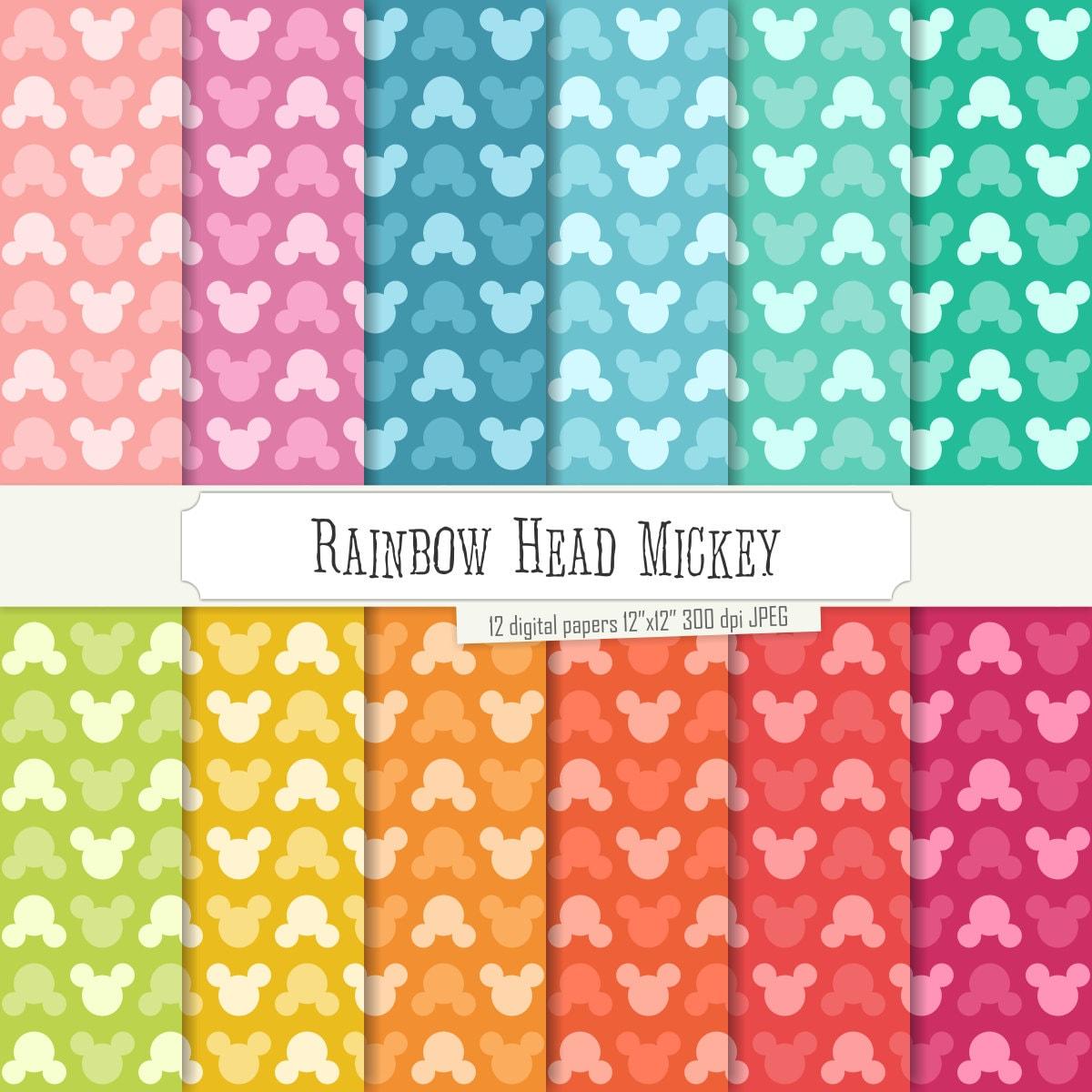 Buy 2 Get 1 Free Digital Paper Rainbow Head Mickey Pattern