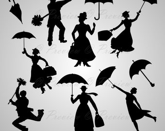 """Buy 2 Get 1 Free! Digital Clipart Silhouettes """"Mary Poppins"""" lovely characters umbrella, rain, black images png/eps/svg/dxf/pdf/studio files"""
