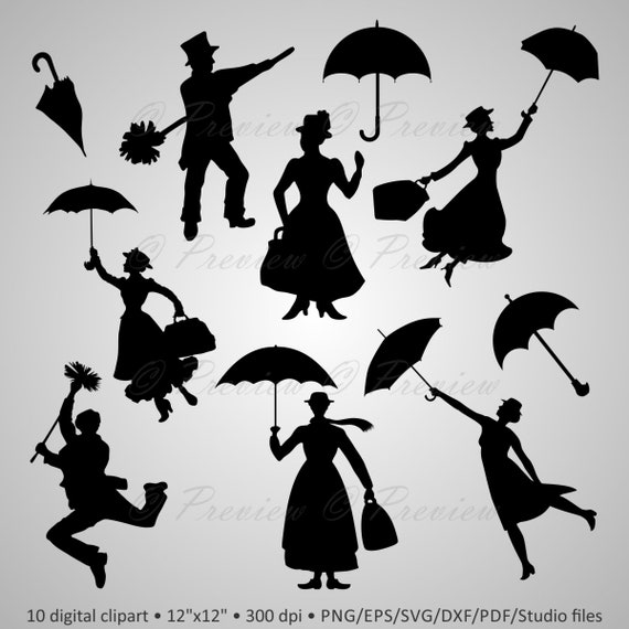 mary poppins coloring pages already colored | Buy 2 Get 1 Free Digital Clipart Silhouettes Mary