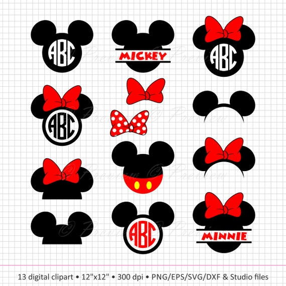 Buy 2 Get 1 Gratis Digitale Clipart Mickey Mouse Hoofd Etsy