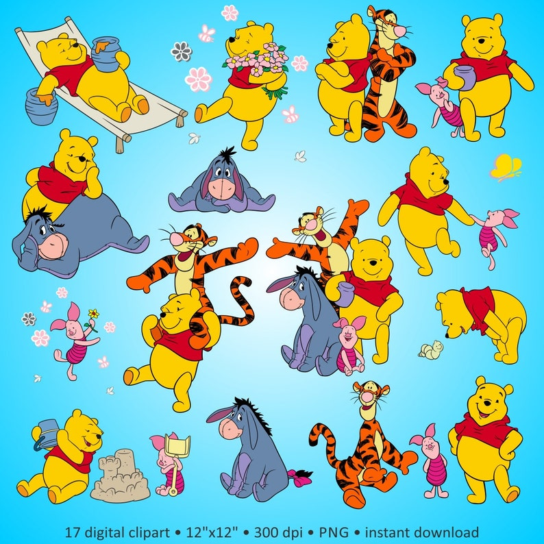 Buy 2 Get 1 Free Digital Clipart Winnie The Pooh Cute Cartoon Characters Disney Drawing Party Friends Colorful Pictures For Scrapbook