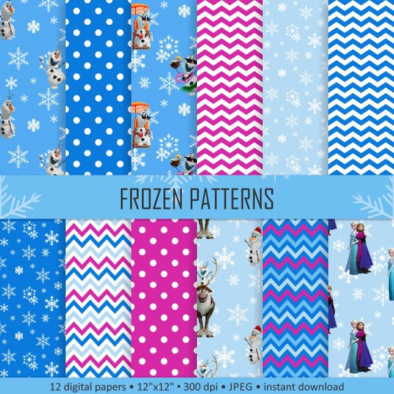 Buy 2 Get 1 Free! Digital Frozen Patterns, winter papers, snowflakes, Anna,  Elsa, Olaf, reindeer, Chevron for Label, tag, scrapbook seamless