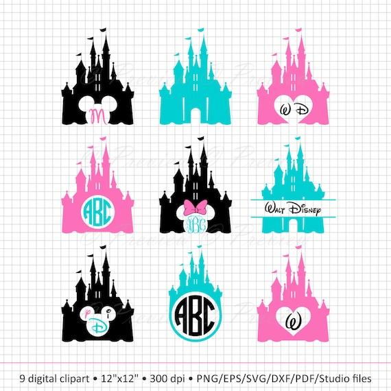 Buy 2 Get 1 Free Digital Clipart Disney Castle Monogram Etsy