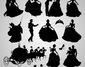 """Buy 2 Get 1 Free! Digital Clipart Silhouettes """"Cinderella"""" crown, lovely Disney characters princess, images png/eps/svg/dxf/pdf/studio files"""