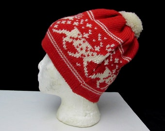 a62f560e04e dale of norway wool ski hat alpine reindeer vintage original badge pom pom  red + white knit designer new without tag deadstock new old stock