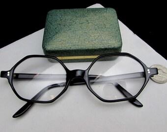 46c1acc0d4 vintage hexagon eyeglasses frames sunglasses france black hard plastic unique  unusual geometric clear prescription lens