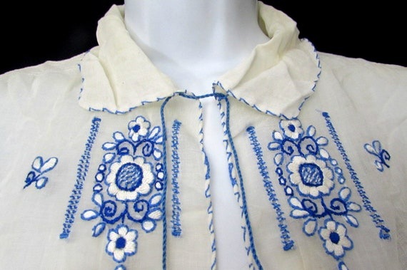 vintage 30s hungarian HEARTS hand embroidered pea… - image 3