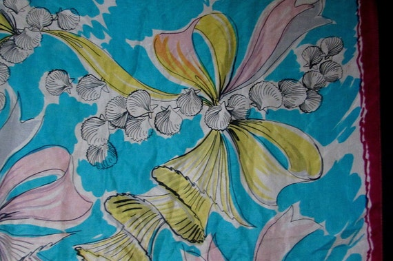 40s 50s bows and seashells silk neck head scarf |