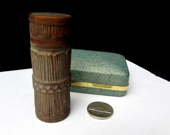 antique carved treenware wooden needle case box | early 1900s treen ware turned wood sewing vintage