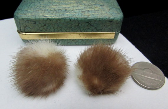 60s genuine mink fur earrings pom pom style real m