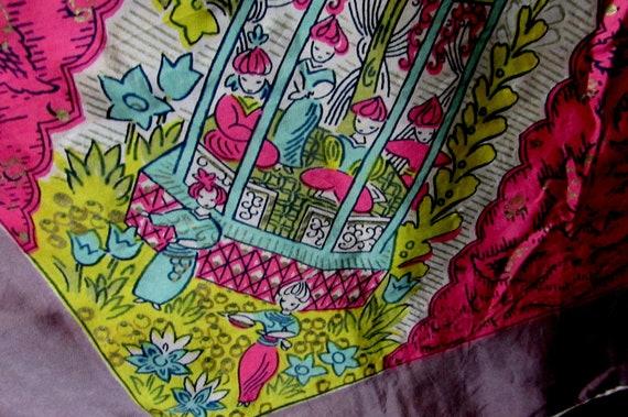 40s vintage silk scarf buddhist temple vintage nov