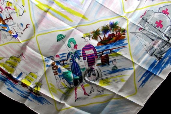 home lines cruise line vintage silk scarf souvenir