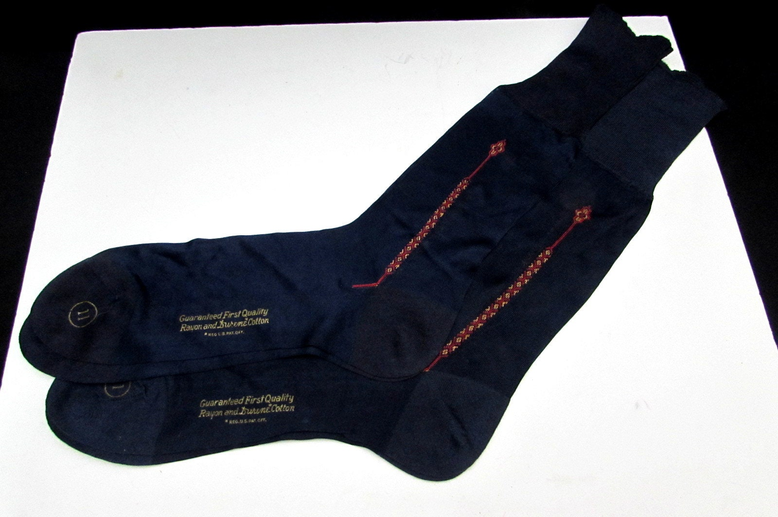 1940s Mens Ties | Wide Ties & Painted Ties 2 Pairs Unused 40S Vintage Embroidered Rayon Durene Cotton Mens Socks Navy Blue Lot Size 11 Thom Mccan Deadstock New Old Stock Nos Art Deco $4.50 AT vintagedancer.com