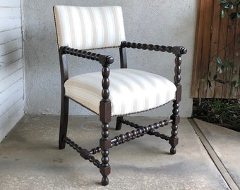 19th century English Bobbin Spool Arm Chair New Striped Linen Upholstery : bobbin chair - lorbestier.org