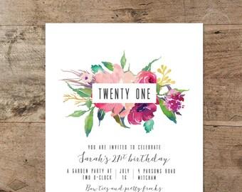 21st birthday invitations etsy 21st birthday invitation printable twenty first invitation floral boho modern hipster minimal filmwisefo