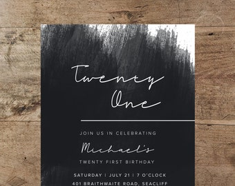 21st birthday invitations etsy twenty first birthday invitation black and white invitation watercolour ink wash invitation 21st male 21st invitation male invitation filmwisefo