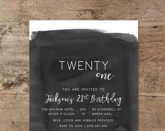 21st invitations etsy twenty first birthday invitation black and white invitation watercolour ink wash invitation 21st male 21st invitation printable filmwisefo