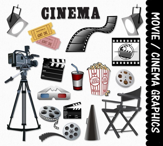Cinema clipart  Movie Equipment Clip Art Clipart Graphic Scrapbook Cinema | Etsy
