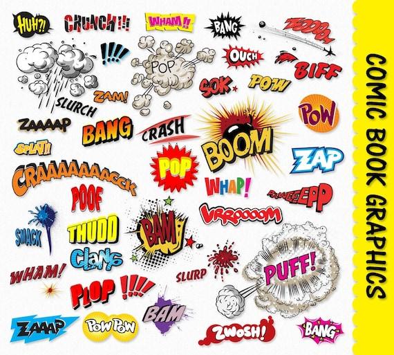 Comic Book Clip Art Graphics Pop Art Clipart Scrapbook Super Etsy