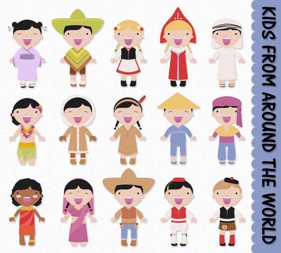 Enfants Du Monde Entier Clip Art Graphique Enfants Clipart Etsy