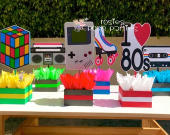 I love the 80s Theme| 80s Birthday Centerpiece | 80s Party Decoration | 80s Birthday | I love 80s Centerpiece | 80s Favors Decor INDIVIDUAL