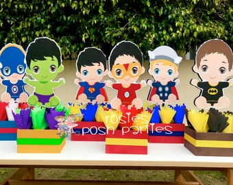 Baby Super Hero Centerpiece for Baby Shower or Birthday Wood Birthday Centerpiece Hero Birthday Hero Baby Shower Centerpiece Set of 6