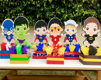 Baby Super Hero Centerpiece for Baby Shower or Birthday Wood Birthday Centerpiece Hero Birthday Hero Baby Shower Centerpiece PER PIECE