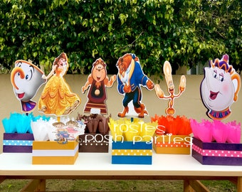 Beauty and The Beast Birthday Centerpiece Chip Mrs. Potts Chip Cogsworth Lumber  birthday handcrafted wood centerpieces birthday SET OF 6