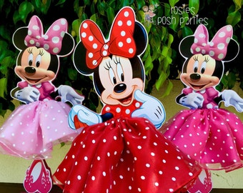 Minnie Mouse Tutu Birthday Decoration Pink OR Red Version Wood Table Centerpiece Favor For Or Baby Shower ONE PIECE
