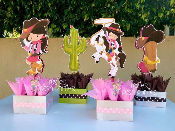 Cowgirl Birthday Centerpieces Decoration Party Western Prop Frame Favor