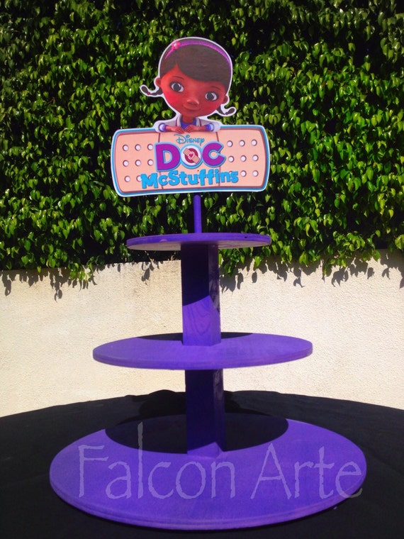 Admirable Doc Mcstuffins Birthday Wood Cupcake Stand Tower For Birthday Personalised Birthday Cards Beptaeletsinfo