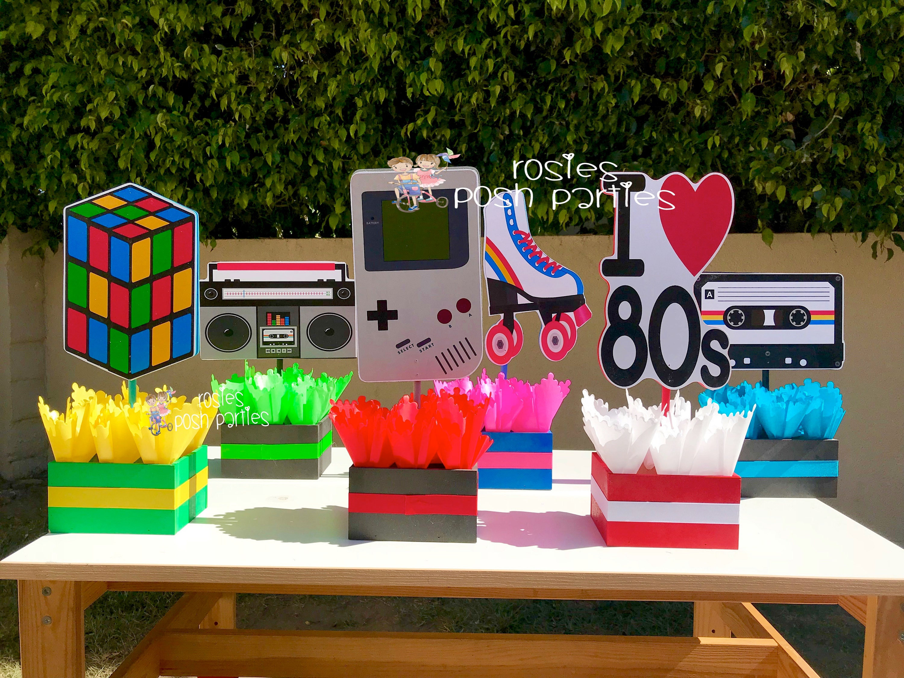 I Love The 80s Birthday Bash Party Centerpieces 80s Party Etsy