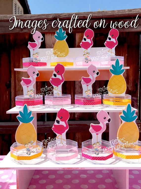 Flamingo Pineapple Birthday Party Candy Treat Jars For Gift Favor Or Raffles Theme SET OF 12