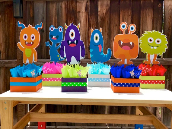 Monster Birthday Centerpieces Little Monsters Cute Party Wood Table Centerpiece Decoration PRICE PER PIECE