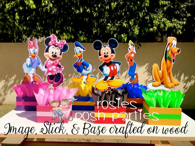 Mickey Mouse Clubhouse Birthday Party Wood Guest Table Centerpiece Decoration Pluto Daisy Goofy Minnie Donald INDIVIDUAL PURCHASE