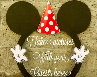 Mickey Mouse ROUND photo booth Clubhouse birthday party photo booth or photo prop decoration Pluto Daisy Goofy Minnie Mickey Donald
