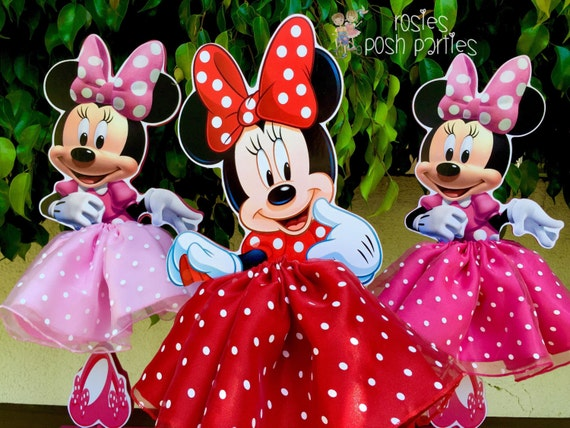 Minnie Mouse Birthday Decoration Tutu Pink Or Red Wood Table Centerpiece Decor Favor For Baby Shower ONE PER PURCHASE