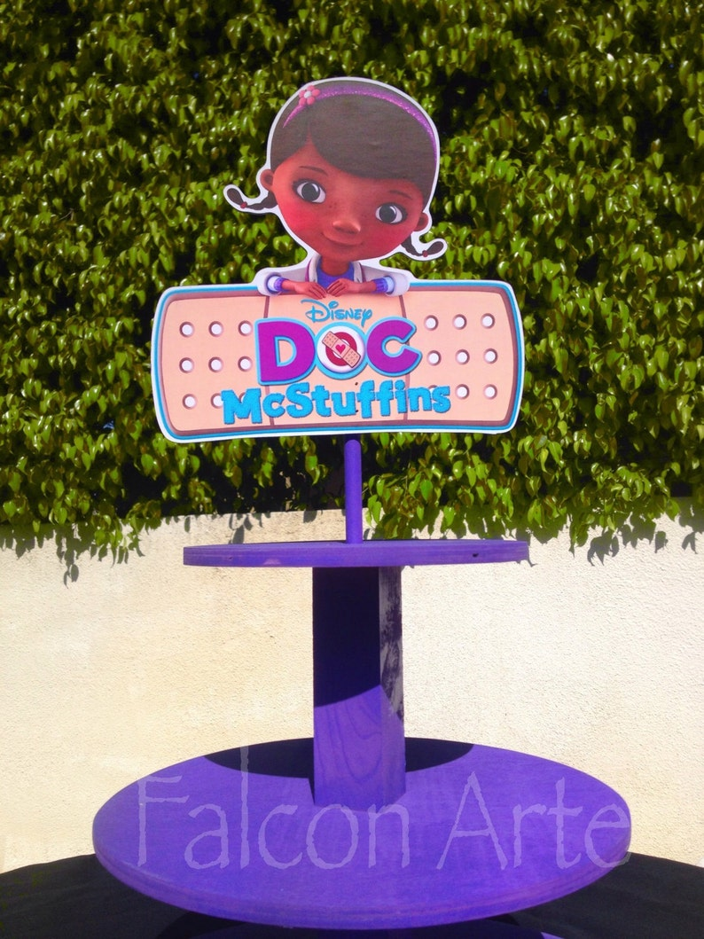 Doc McStuffins Birthday Wood Cupcake Stand Tower for birthday Lambie Stuffy Hallie wood for Birthday Cake Table or any themed occaasion