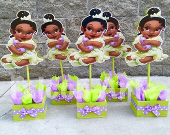 Princess and The Frog Birthday Centerpiece Baby Princess Tiana Frog birthday Decorations birthday handcrafted wood centerpieces PER PIECE