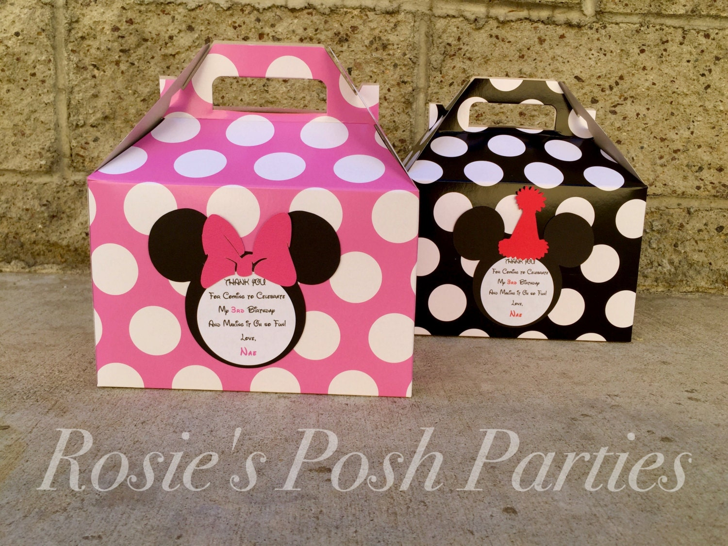 Hot pink Minnie Mouse Favor box and Mickey Mouse Birthday | Etsy