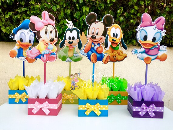 Baby Mickey Mouse Clubhouse Birthday Party Wood Guest Table Centerpiece Decoration Pluto Daisy Goofy Minnie Donald SET OF 6