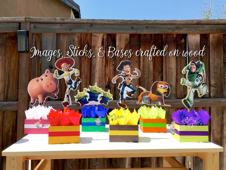 Strange Toy Story Birthday Centerpiece Toy Story Party Buzz Lightyear Woody And Jessie Wood Table Centerpiece On Base For Birthday Individual Download Free Architecture Designs Scobabritishbridgeorg