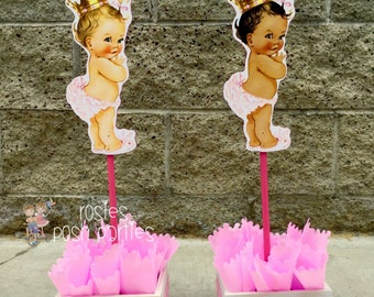 Royal Princess Ruffle Pants Baby Shower Princess with Bunny Slippers and Princess with Gold Crown Centerpiece Guest Table INDIVIDUAL