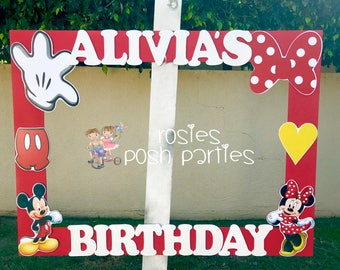 Mickey Minnie Mouse photo booth Clubhouse birthday party photo booth or photo prop decoration Pluto Daisy Goofy Minnie Mickey Donald