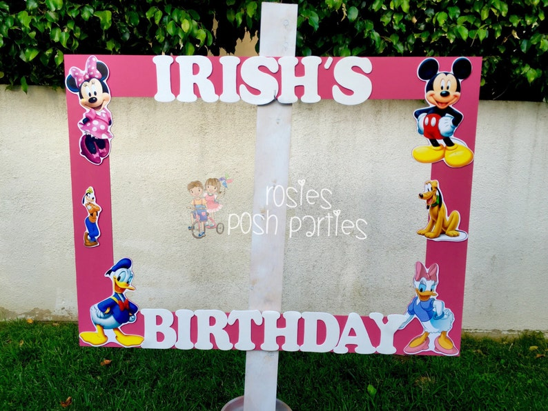 Pink Minnie Mouse photo booth Clubhouse birthday party photo booth or photo prop decoration Pluto Daisy Goofy Minnie Mickey Donald