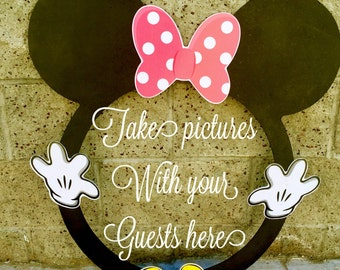 Pink Minnie Mouse ROUND photo booth Clubhouse birthday party photo booth or photo prop decoration Pluto Daisy Goofy Minnie Mickey Donald