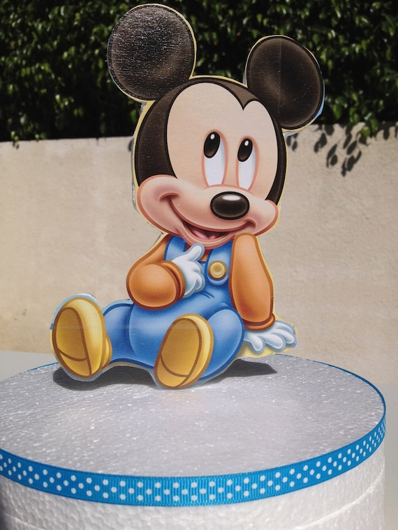Wondrous Baby Mickey Mouse Cake Topper For Baby Shower Or 1St Birthday By Personalised Birthday Cards Veneteletsinfo