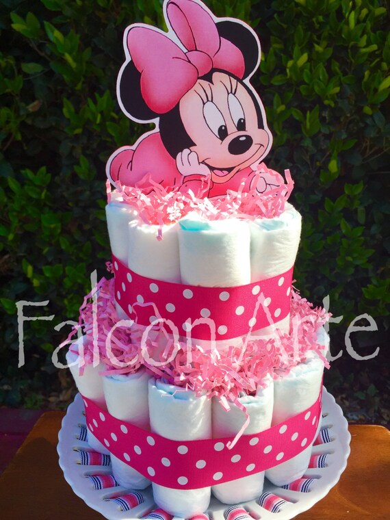 Baby Minnie Mouse Diaper Cake Centerpiece 2 Tier Cake For